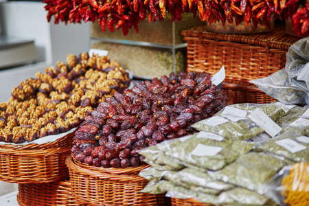Dry dates on farmer market in Funchal, Madeira island, Portugal