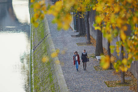 一緒に歩く二人の若い女の子の晴れた秋の日にパリのセーヌ川に近い。観光や友情の概念