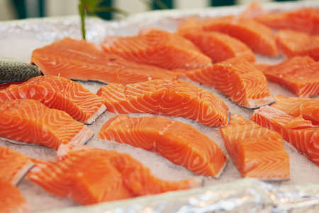 Delicious salmon on farmer market in Paris, France Stock Photo