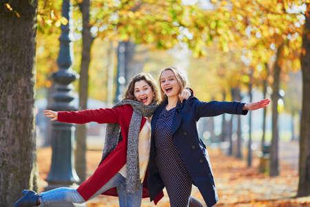 2 つの若い女の子に日当たりの良い秋の公園を歩いて秋の日と楽しい時を過します。友情の概念