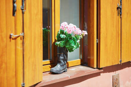 Pink flowers in high boot on a window sill 版權商用圖片