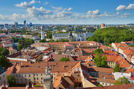 Beautiful panorama of Vilnius Old Town with Gediminas hill and Bell tower of Vilnius cathedral taken from Church of Saint Johns; Lithuania 版權商用圖片
