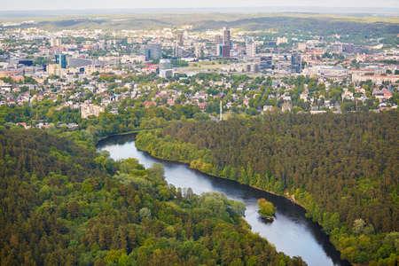 ビリニュスの住宅地区の空撮撮影フォーム テレビ塔 写真素材