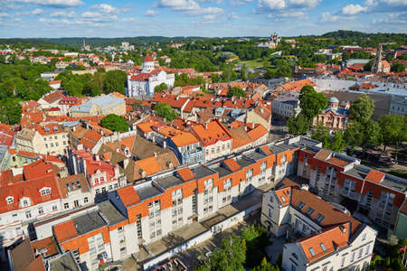 Beautiful panorama of Vilnius Old Town taken from Church of Saint Johns; Lithuania 版權商用圖片
