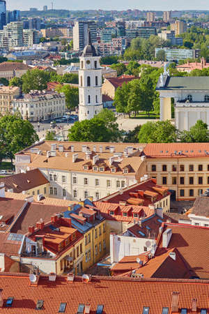 Beautiful panorama of Vilnius Old Town with Bell tower of Vilnius cathedral taken from Church of Saint Johns; Lithuania
