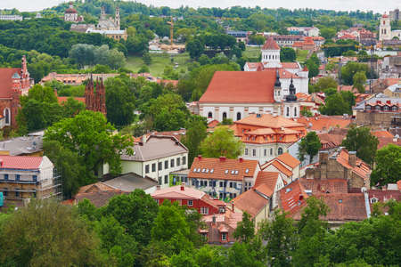 Beautiful panorama of Vilnius Old Town taken from Gediminas hill; Lithuania