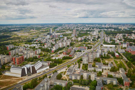 Aerial view of residential district of Vilnius taken form the TV tower 版權商用圖片 - 82020878