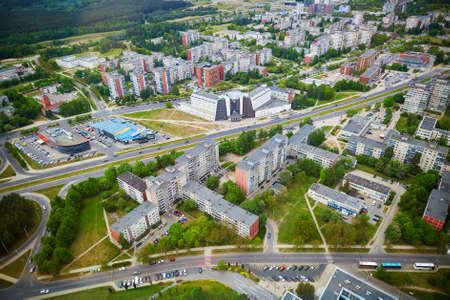Aerial view of residential district of Vilnius taken form the TV tower