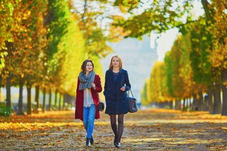 2 つの若い女の子に日当たりの良い秋の公園を歩いて秋の日。友情の概念