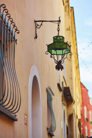 Beautiful lantern in Positano, Mediterranean village on Amalfi Coast, Campania, Italy