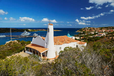 Aerial view to Stella Maris church in Porto Cervo, Emerald coast, Sardinia, Italy