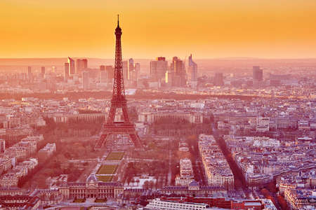 Aerial view of the Eiffel tower at sunset. Paris, France