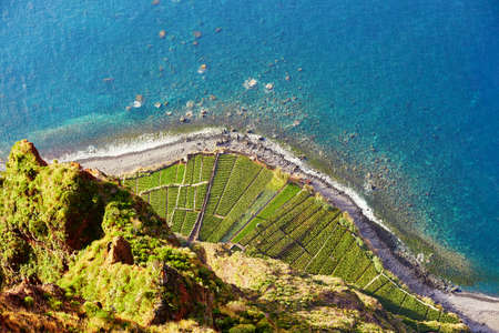 Aerial view of green terrace fields and ocean shore at Cabo Girao, Madeira, Portugal Stock Photo