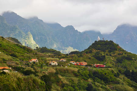 Beautiful landscape of mountains and Sao Vicente town on the northern coast of Madeira island, Portugal Stock Photo