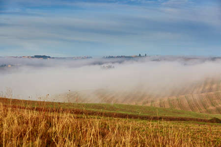 Scenic Tuscan landscape with beautiful fields, meadows and hills with morning fogs. San Quirico d'Orcia, Tuscany, Italy Stock Photo - 92642390