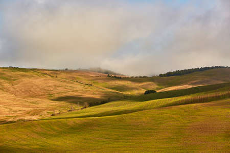 Scenic Tuscan landscape with beautiful fields, meadows and hills with morning fogs. San Quirico dOrcia, Tuscany, Italy Stock Photo