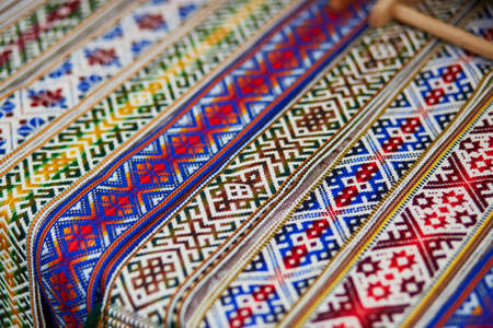 Handmade textile bookmarks sold on Easter fair in Vilnius, Lithuania. Traditional Lithuanian spring fair Standard-Bild