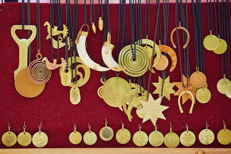Metallic decorations sold on Easter fair in Vilnius, Lithuania. Traditional Lithuanian spring fair Stock fotó