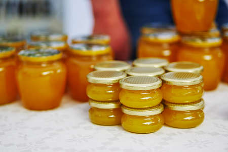 Honey sold on Easter fair in Vilnius, Lithuania. Traditional Lithuanian spring fair
