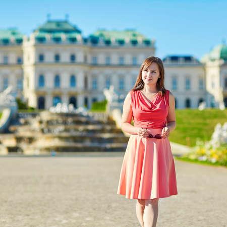 Beautiful young woman walking in Vienna, Austria