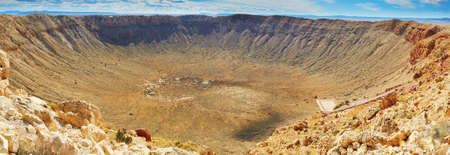 Panorama of Meteor crater also known as Barringer crater in Arizona, United States of America