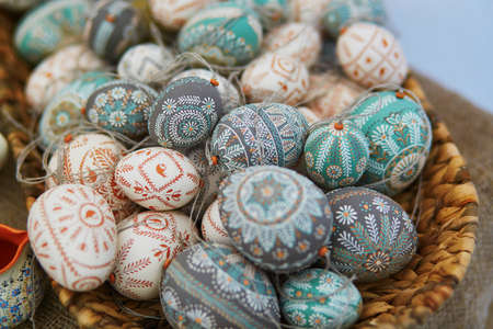 Colorful Easter eggs sold on Easter fair in Vilnius, Lithuania. Traditional Lithuanian spring fair