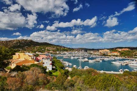 Scenic view to marina of Porto Cervo, Emerald Coast, Sardinia, Italy 스톡 콘텐츠