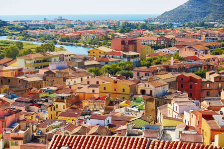 Aerial view of colorful houses in Bosa village, Sardinia, Italy