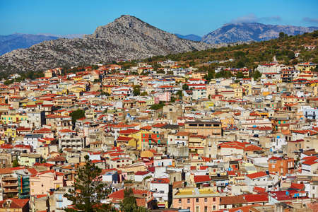 Aerial view of colorful houses in Dorgali village, Sardinia, Italy