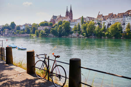 Scenic view of Rhine embankment with people swimming in the river in Basel, Switzerland Reklamní fotografie