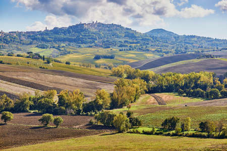 Scenic Tuscan landscape with beautiful fields, meadows and hills. San Quirico dOrcia, Tuscany, Italy Stock fotó