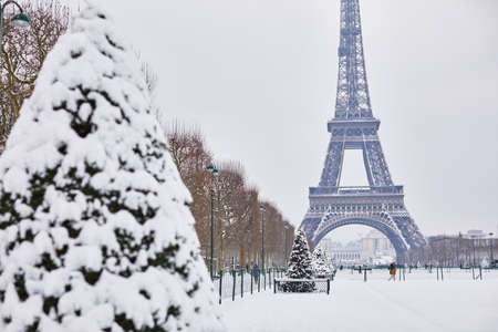 Scenic view to the Eiffel tower on a day with heavy snow. Unusual weather conditions in Paris