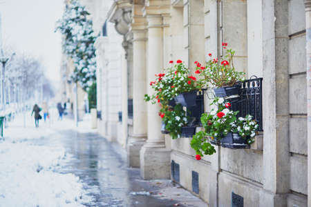 Heavy snowfall in Paris. Parisian street under the snow. Unusual weather conditions in France Фото со стока