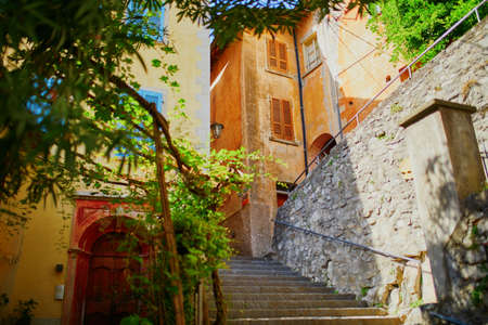 Beautiful narrow streets with lots of steps in Gandria village near Lugano, canton of Ticino, Switzerland 版權商用圖片 - 108868345