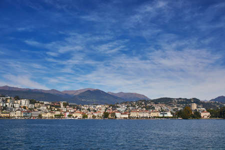 Scenic view of Lugano from the lake, canton of Ticino, Switzerland