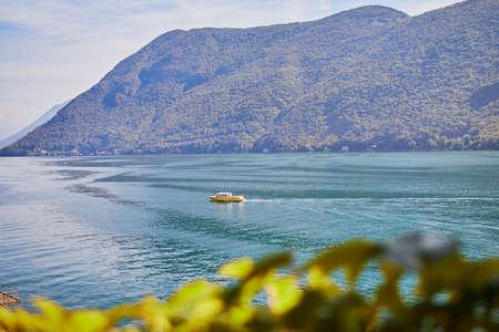 Scenic view to the lake in Gandria village near Lugano, canton of Ticino, Switzerland