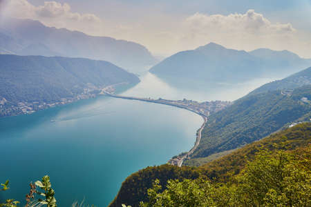 Scenic view to the lake Lugano from mountain San Salvatore in Lugano, canton of Ticino, Switzerland