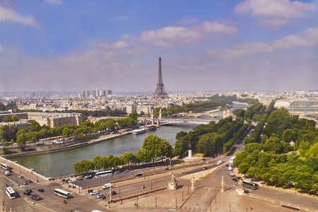 Aerial scenic view of the Eiffel tower, river Seine and Place de la Concorde in Paris, France