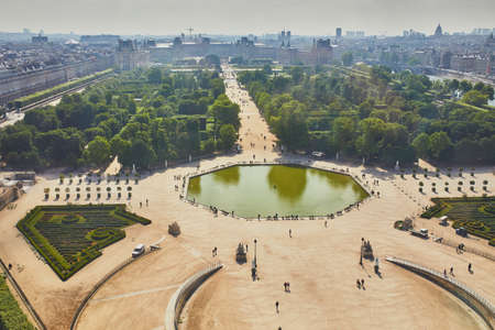 Aerial scenic view of Tuileries park in Paris, France