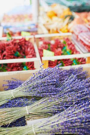 Lavender on farmer market. Typical European market of home grown produce Stock Photo