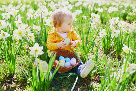 Cute little one year old girl playing egg hunt on Easter. Toddler sitting on the grass with many narcissi and gathering colorful eggs in basket. Little kid celebrating Easter outdoors in park or fores