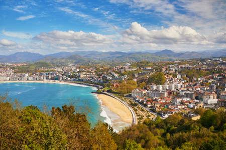 Aerial scenic view of San Sebastian (Donostia), Spain Imagens