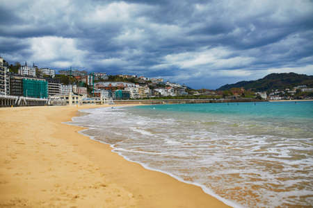 Scenic view of La Concha beach in San Sebastian (Donostia), Spain