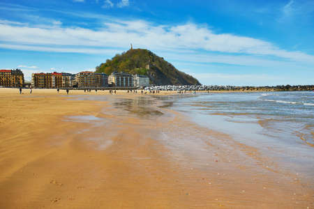 Scenic view of Zurriola beach in San Sebastian (Donostia), Spain