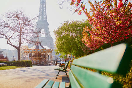 Scenic view of the Eiffel tower with cherry blossom trees in Paris, France on a spring day