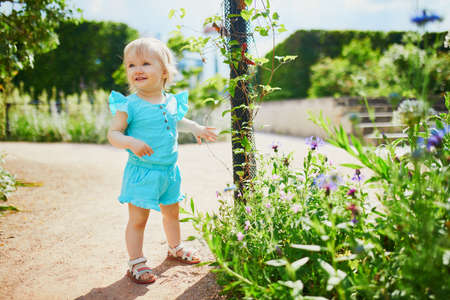 Adorable little girl outdoors in park on a sunny day. Toddler looking at flowers. Kid exploring nature
