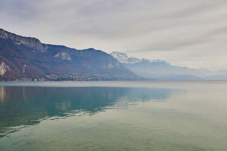 Scenic view of Lac dAnnecy in alpine town of Annecy in Haute-Savoie, France