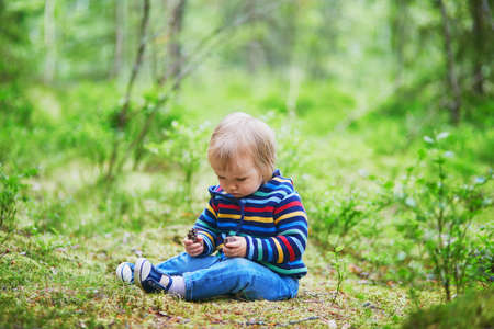 Adorable baby girl in the forest, sitting on the ground and playing with pine cones. Little child having fun outdoors. Kid exploring nature