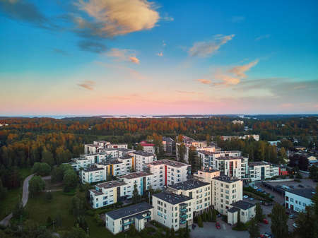 Beautiful aerial sunset view of Espoo, residential suburb of Helsinki, Finland