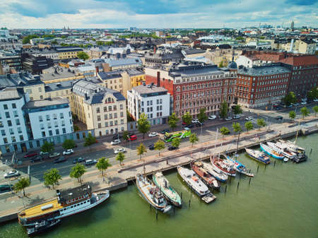 Scenic aerial view of cuty streets and embankment in Helsinki, Finland